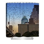 The Frost Bank Tower Stands Guard As 1.5 Million Mexican Free-tail Bats Overtake The Austin Skyline As They Exit The Congress Avenue Bridge Shower Curtain