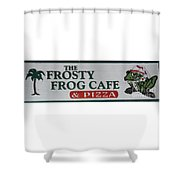 The Frosty Frog Cafe Sign Shower Curtain