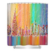 The Future City Abstract Painting  Shower Curtain by Julia Apostolova