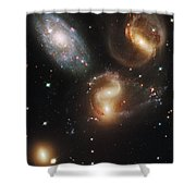 The Galaxies Of Stephans Quintet Shower Curtain