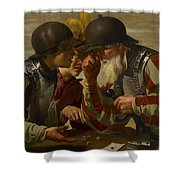 The Gamblers Shower Curtain by Hendrick Ter Brugghen