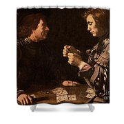The Gamblers Shower Curtain by Michelangelo Caravaggio