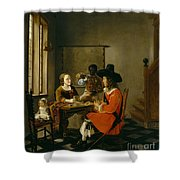 The Game Of Cards Shower Curtain by Hendrik van der Burch