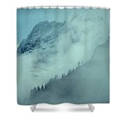 The Garden Wall Veiled By Clouds Shower Curtain