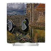 The Gatehouse And Moat At Leeds Castle Shower Curtain
