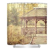 The Gazebo In The Woods Shower Curtain by Lisa Russo