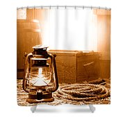 The General Store Backroom - Sepia Shower Curtain