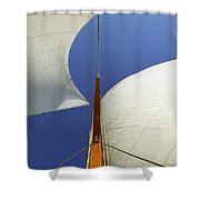 The Genoa And Mainsail Of A Classic Sailboat Shower Curtain