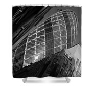 The Gherkin Black And White Shower Curtain