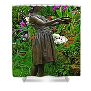 The Girl Among Orchids Shower Curtain