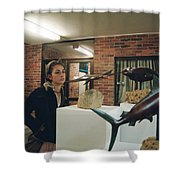 The Girl In The Exhibition Shower Curtain