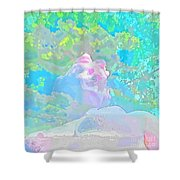 The Girl In The Pink Light Shower Curtain