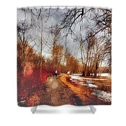 The Girl On The Path Shower Curtain
