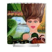 The Girl With A Wooden Hair Shower Curtain