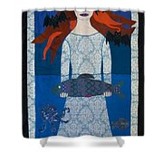 The Girl With Bats And Fish Shower Curtain