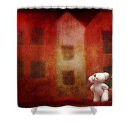 The Girl With Teddy Bear Shower Curtain