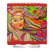 The Girl With The Flowers In Her Hair Shower Curtain