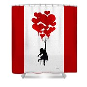 The Girl With The Red Balloons Shower Curtain
