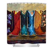 The Girls Are Back In Town Shower Curtain by Frances Marino