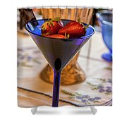 The Glass Of Strawberries Shower Curtain