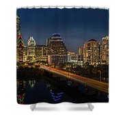 The Glimmering Neon Lights Of The Downtown Austin Skyscrapers Illuminate The Skyline Over Lady Bird Lake Shower Curtain