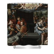 The Glorification Of Art And Diligence And The Punishment Of Gluttony And Earthly Pleasures Shower Curtain