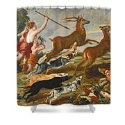 The Goddess Diana And Her Nymphs Hunting Deer Shower Curtain
