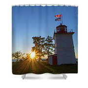 The Goderich Lighthouse At Sunset Shower Curtain