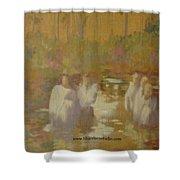 The Golden Baptism Shower Curtain