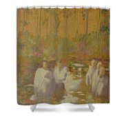 The Golden Baptism Shower Curtain