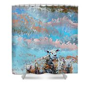 The Golden Flock - Colorful Sheep Art Shower Curtain