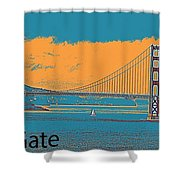 The Golden Gate Bridge In Sfo California Travel Poster 2 Shower Curtain