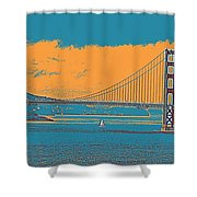 The Golden Gate Bridge In Sfo California Travel Poster Shower Curtain