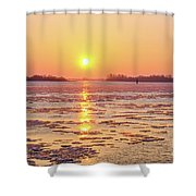 The Golden Hour And Ice Drift Shower Curtain