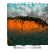 The Golden Hour Illuminating The Dunes Shower Curtain