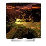 The Golden Lake Shower Curtain