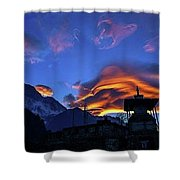 The Golden Light Of Nepal Shower Curtain