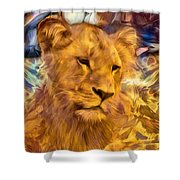 The Golden Lioness  Shower Curtain