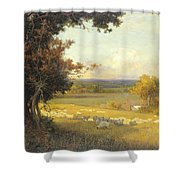 The Golden Valley Shower Curtain by Sir Alfred East