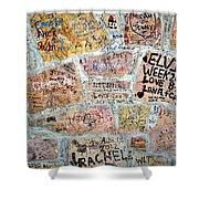 The Graceland Graffiti Wall Shower Curtain