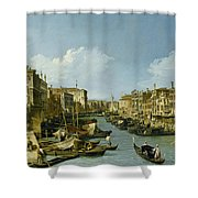 The Grand Canal Near The Rialto Bridge. Venice Shower Curtain