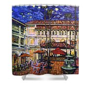 The Grand Dame's Courtyard Cafe  Shower Curtain
