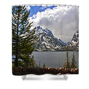 The Grand Tetons And The Lake Shower Curtain