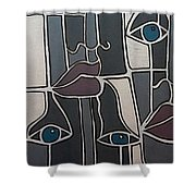 The Gray Faces Shower Curtain