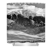 The Great Sand Dune Valley Bw Shower Curtain