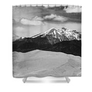 The Great Sand Dunes And Sangre De Cristo Mountains - Bw Shower Curtain