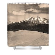 The Great Sand Dunes And Sangre De Cristo Mountains - Sepia Shower Curtain