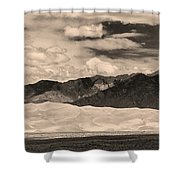 The Great Sand Dunes Panorama 2 Sepia Shower Curtain