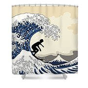The Great Surfer Off Kanagawa Shower Curtain