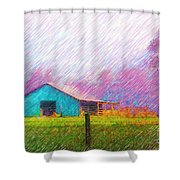 The Green Barn Shower Curtain